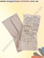 Модель № 388 Перчатки женские из натуральной кожи и гипюра без подкладки. Кожа производства Италии.