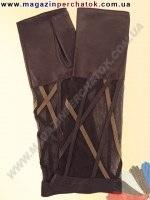 Модель № 385 Перчатки женские без пальцев. Комбинация натуральной кожи и гипюра. Без подкладки. Митенки длинные - 30 см.